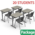 Click here for more Classroom Set - 20 Silhouette Single Desks & 20 Flavors Chairs by Smith System by Worthington