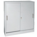 Click here for more Counter-Height Sliding Door Storage Cabinet by Sandusky Lee by Worthington