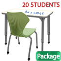 Click here for more Classroom Set- 20 Single Apex Dry Erase Desks & Chairs by Marco Group by Worthington