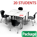 Click here for more Classroom Set- 20 Dog Bone Dry Erase Apex Desks & Chairs by Marco Group by Worthington