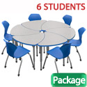 Click here for more Classroom Set- 6 Single Apex Chevron Desks & Chairs by Marco Group by Worthington
