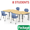 Click here for more Classroom Set- 8 Single Apex Gem Desks & Chairs by Marco Group by Worthington