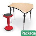 Click here for more Economy Shapes Desk & Hierarchy Grow Adjustable Stool Bundle by Mooreco by Worthington