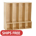Click here for more Birch 4-Section Streamline Toddler Coat Locker with Bench by ECR4Kids by Worthington