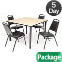 Click here for more Kee Base Cafe Table and Four Vinyl Stack Chairs by Regency by Worthington