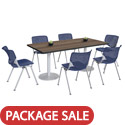 Click here for more Silver Base Cafe Table with Six Kool Stack Chairs by KFI by Worthington