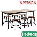 Click here for more Laminate Height Adjustable Table & Black Stool Package by National Public Seating by Worthington