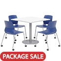 Click here for more Mode Square Cafe Table with Four Lola Stack Chairs w/ Casters by Olio Designs by Worthington