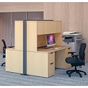 Click here for more OS Laminate Desk with Hutch Pair by OfficeSource by Worthington