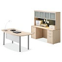 Click here for more OS Laminate Crescent Desk with Hutch by OfficeSource by Worthington