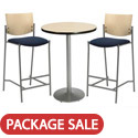 Click here for more Silver Base Bar Height Cafe Table with Two BR1310 Barstools by KFI by Worthington