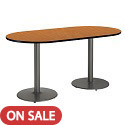 Click here for more Mode Racetrack Caf茅 Tables w/ Round Silver Base by KFI by Worthington