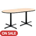 Click here for more Mode Racetrack Caf茅 Tables w/ Black X-Base by KFI by Worthington