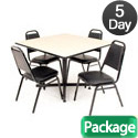 Click here for more Kobe Base Cafe Table and Four Vinyl Stacker Chairs by Regency by Worthington