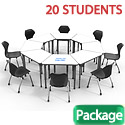 Click here for more Classroom Set- 20 Trapezoid Apex Dry Erase Desks & Chairs by Marco Group by Worthington