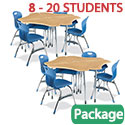 Click here for more Zuma ZBoom Modular Classroom Desk and Stack Chair Package by Virco by Worthington