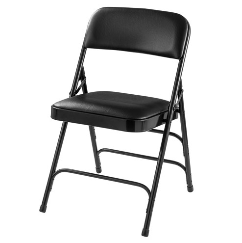 Outstanding Padded Folding Chair W Triple Braces Black Vinyl Black Frame Pabps2019 Chair Design Images Pabps2019Com