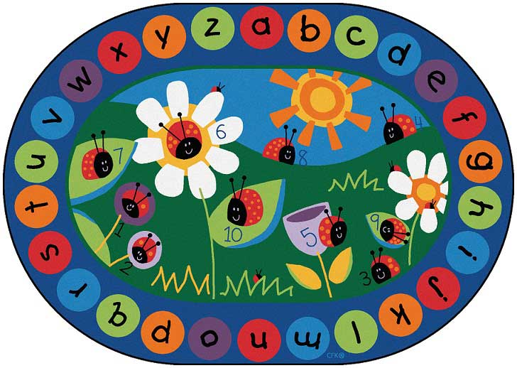delightful Alphabet Rugs For Classrooms Part - 10: 2008-83x118-ladybug-circletime-rug-oval