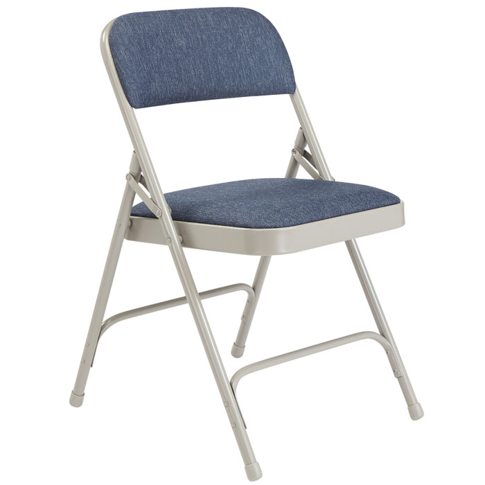 Pleasing Padded Folding Chair W Double Hinge Blue Fabric W Gray Frame Theyellowbook Wood Chair Design Ideas Theyellowbookinfo