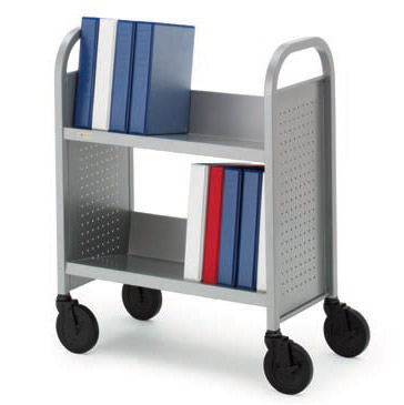 boo227-singlesided-upsable-booktruck-w-2-slanted-shelves