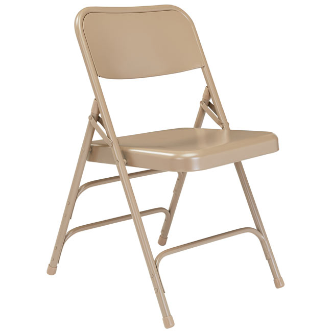 301-beige-18-gauge-steel-double-hinge-triple-braced-folding-chair