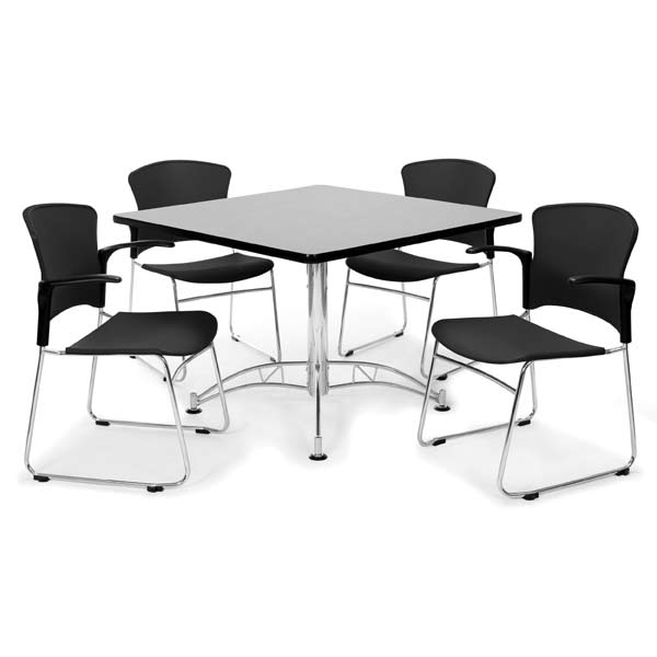 ofm breakroom table 42 square or round w four plastic chairs w rh worthingtondirect com breakroom tables and chairs uk break room table and chairs