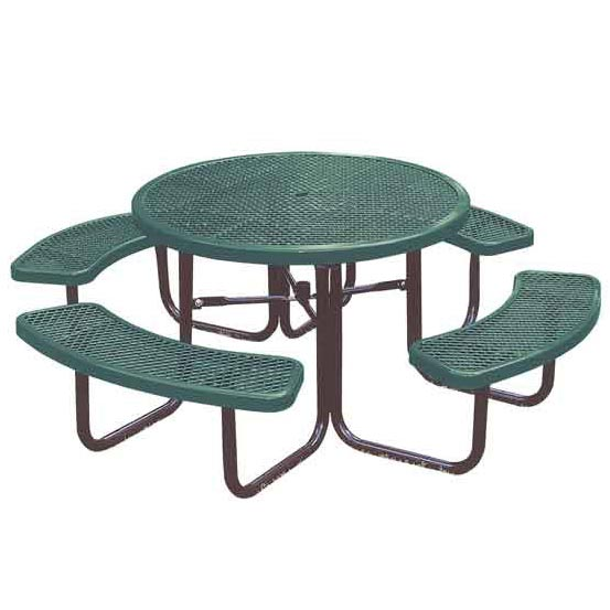 Outdoor Picnic Table : ... -Rdv Round Expanded Metal Outdoor Picnic Table By Ultra Play Systems
