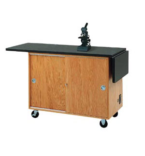 4121kf-mobile-lab-table-w-drop-leaf-extensions-w-flat-top