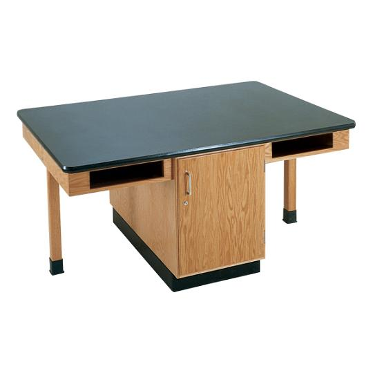 c2306k-fourstudent-science-table-w-4-book-compartments-epoxy-resin-top-doors-only