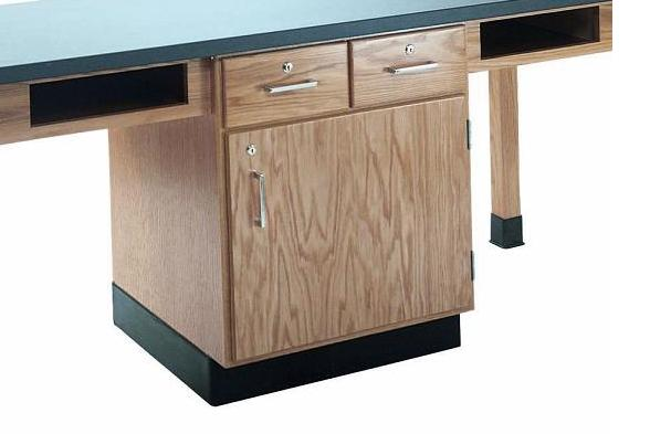 c2401k-fourstudent-science-table-w-4-book-compartments-black-plastic-laminate-top-w-doors-drawers