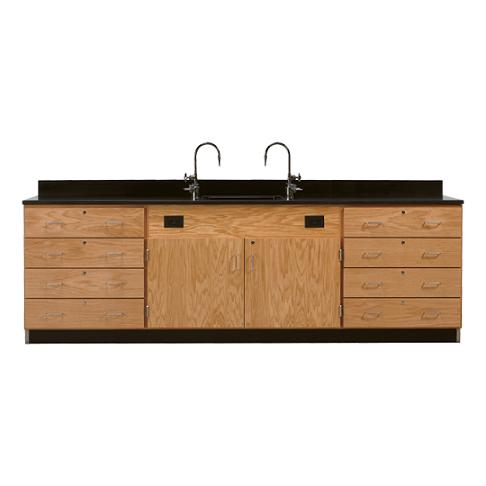 3246k-wall-service-bench-w-storage-cabinets-eight-large-drawers-solid-epoxy-top