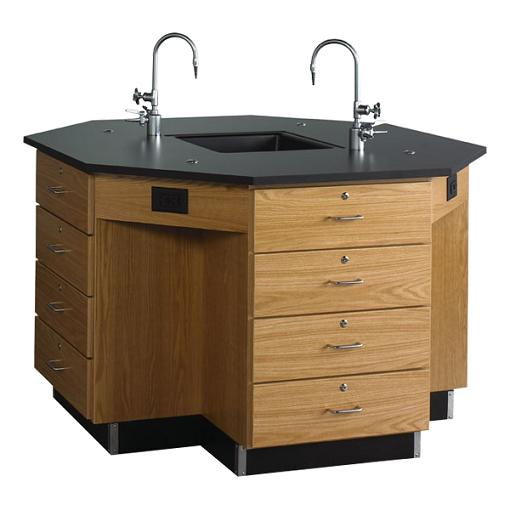 1646k-diversified-woodcrafts-octagon-workstation-with-drawer-base