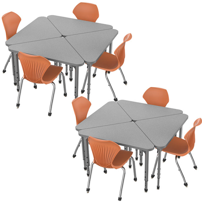 38372-8-apex-triangle-desks-8-stack-chairs-18-pumpkin-spice-closeout