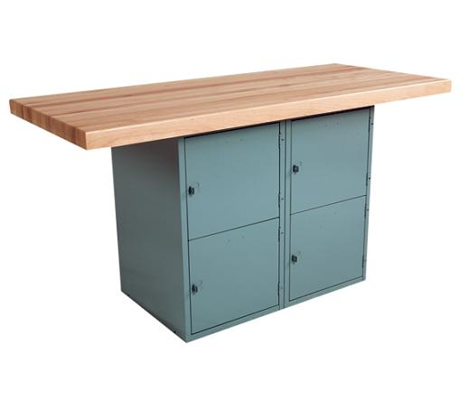 wbb41v-twostation-steel-workbench-w-4-locker-base-and-1-vise-18-w-x-15-h-lockers