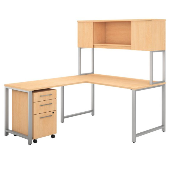400 Series L Shaped Desk With Hutch Return And 3 Drawer Mobile File Cabinet 72 W