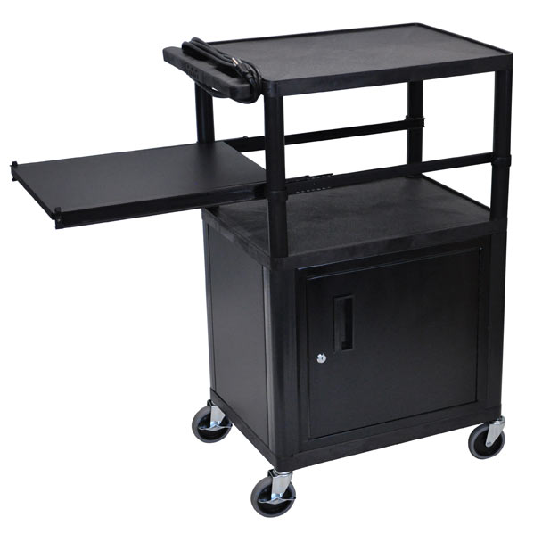 lp42cpe-threeshelf-plastic-av-cart-w-cabinet-electric-side-shelf-42-h