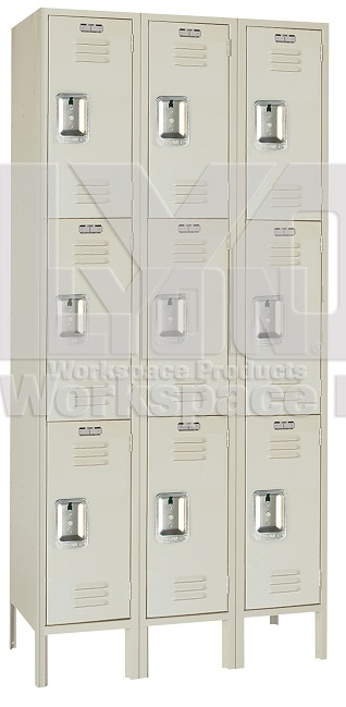 52833-12wx15dx24h-putty-triple-tier-locker-3sections-wide-9-openings