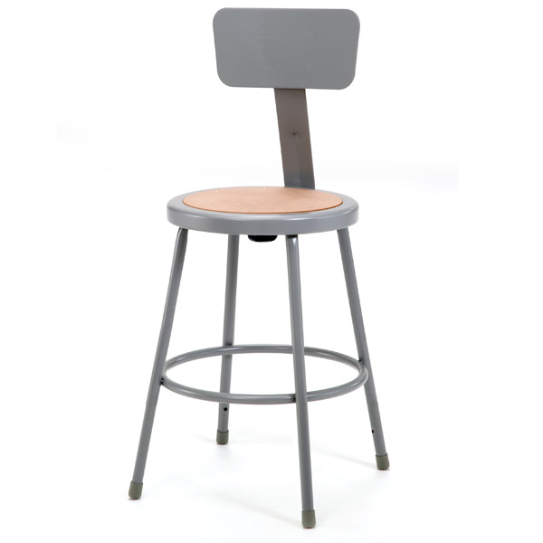 National Public Seating 6224b Steel Stool W Backrest 24 Quot H