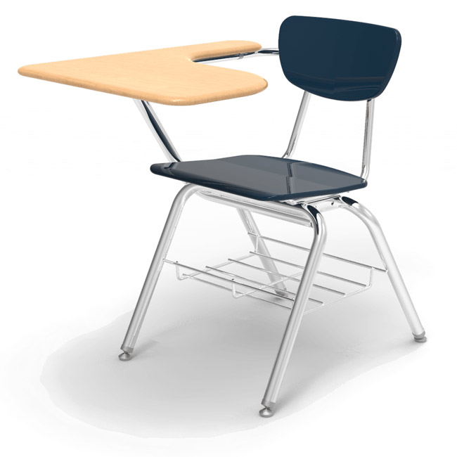 Enjoyable Solid Plastic Chair Desk W Bookrack Caraccident5 Cool Chair Designs And Ideas Caraccident5Info