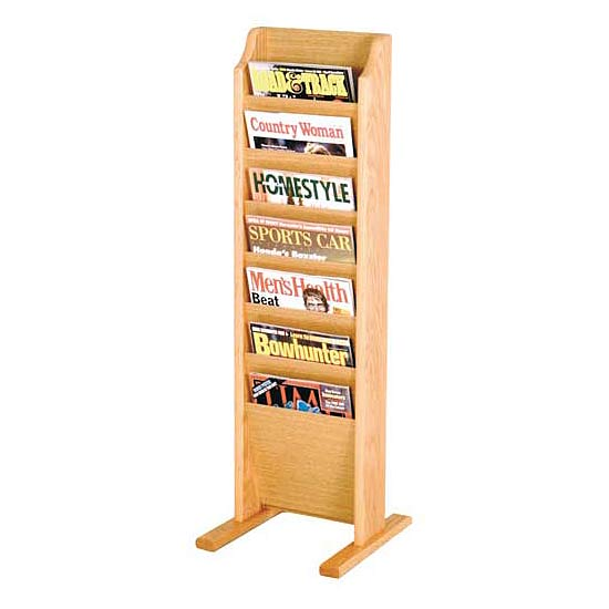 Wooden Mallet Freestanding Magazine Rack 7 Pocket Mr 7fs Chart Magazine And Literature Racks Worthington Direct