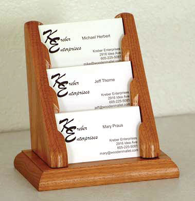 bcc13-3-pocket-oak-business-card-rack