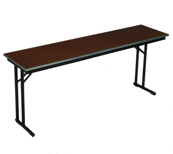 18 X 72 Folding Table.18 X 72 Steel Edge Stained Plywood Seminar Folding Table With Comfort Leg