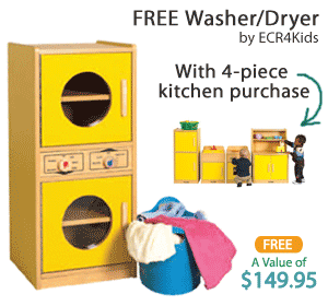 Free Kids Washer & Dryer with 4-Piece Play Kitchen Set Purchase
