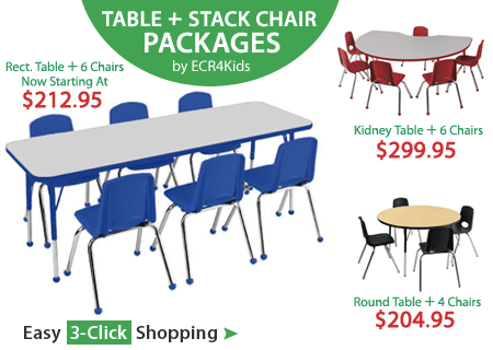 Activity Table & School Stack Chair Package Sets for Classroom