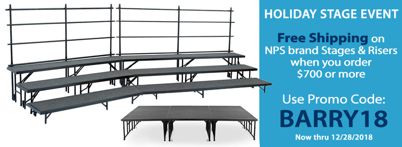 Free Shipping Offer on NPS Brand Stages & Risers!