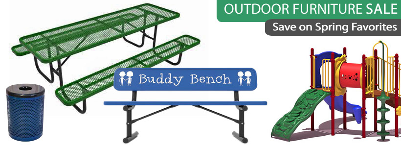 Outdoor Table, Bench, Trash and Playground Equipment on Sale for Parks and Playgrounds!