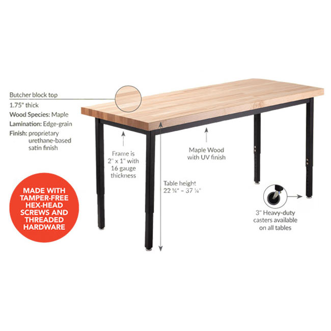 National Public Seating Height Adjustable Utility Table With Butcher