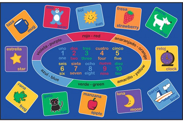 Smarty Spanish Bilingual Kids Rug by Learning Carpets