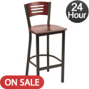 Slat Back Cafe Barstool with Wood Seat and Back by KFI