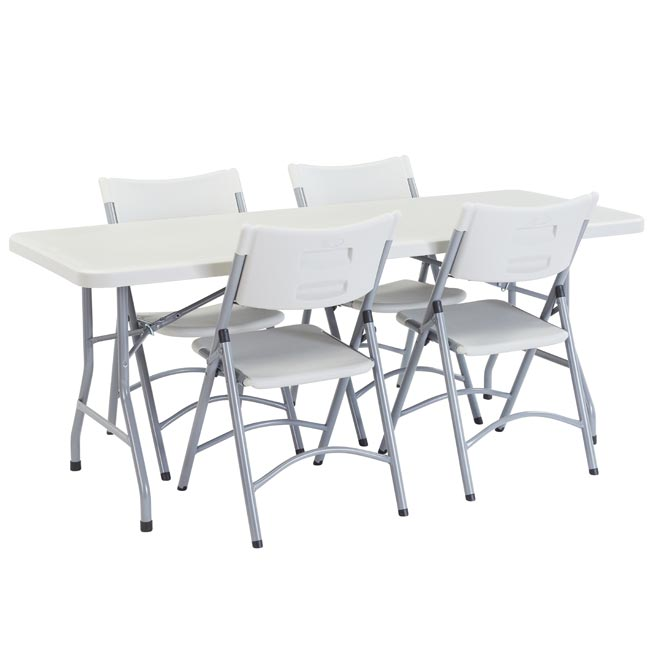 National Plastic Folding Table Chair Set 30 X 72 Rectangle Folding Table With 4 Folding Chairs Bt3072 1 602 4 Packaged Tables And Chairs Worthington Direct